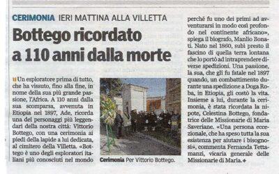 Ricordo dei Bottego: Vittorio e Madre Celestina. Parma 11 novembre 2007 alla villetta dei Bottego.