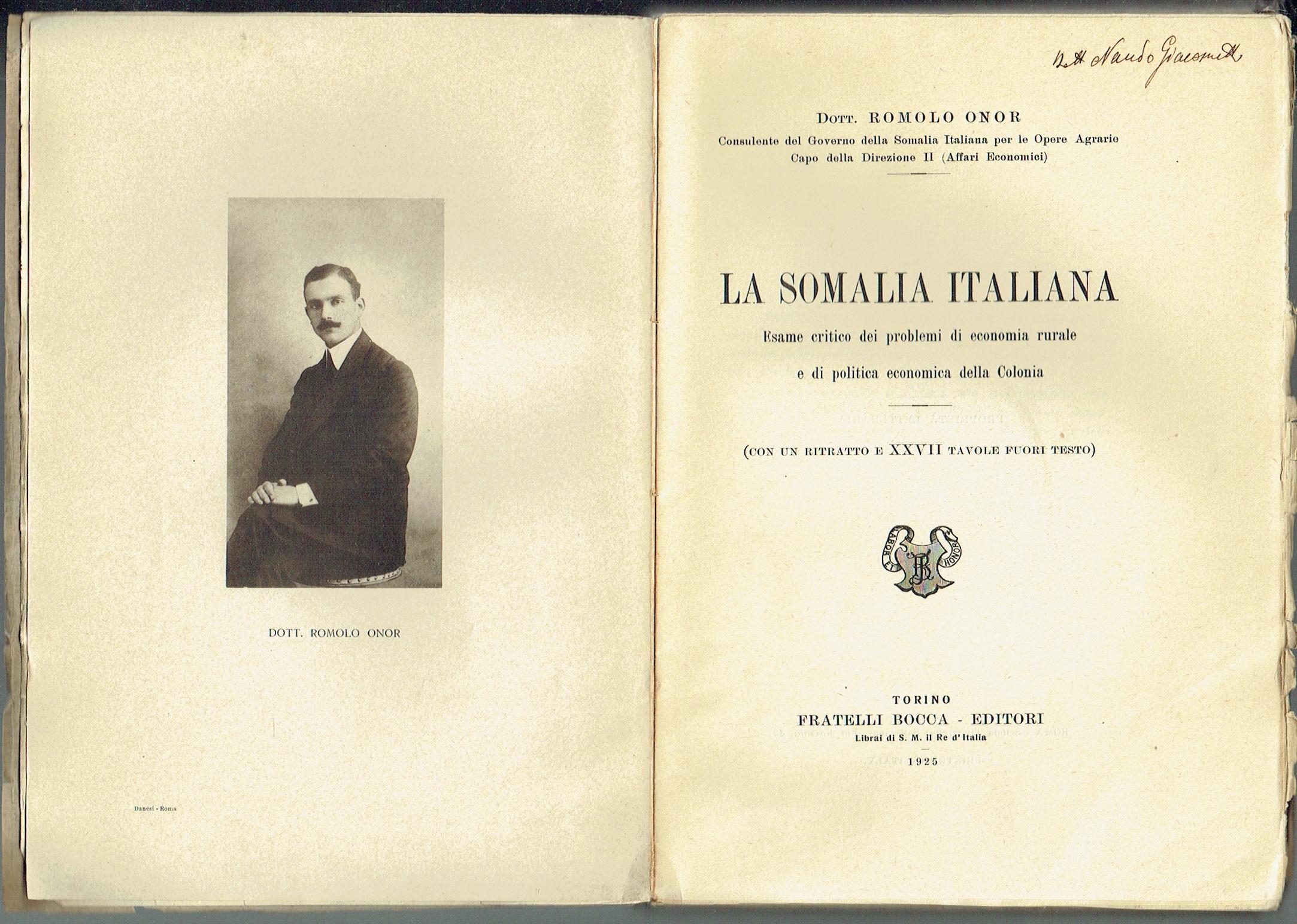 ROMOLO ONOR E LA SOMALIA, NEL CENTENARIO DELLA MORTE