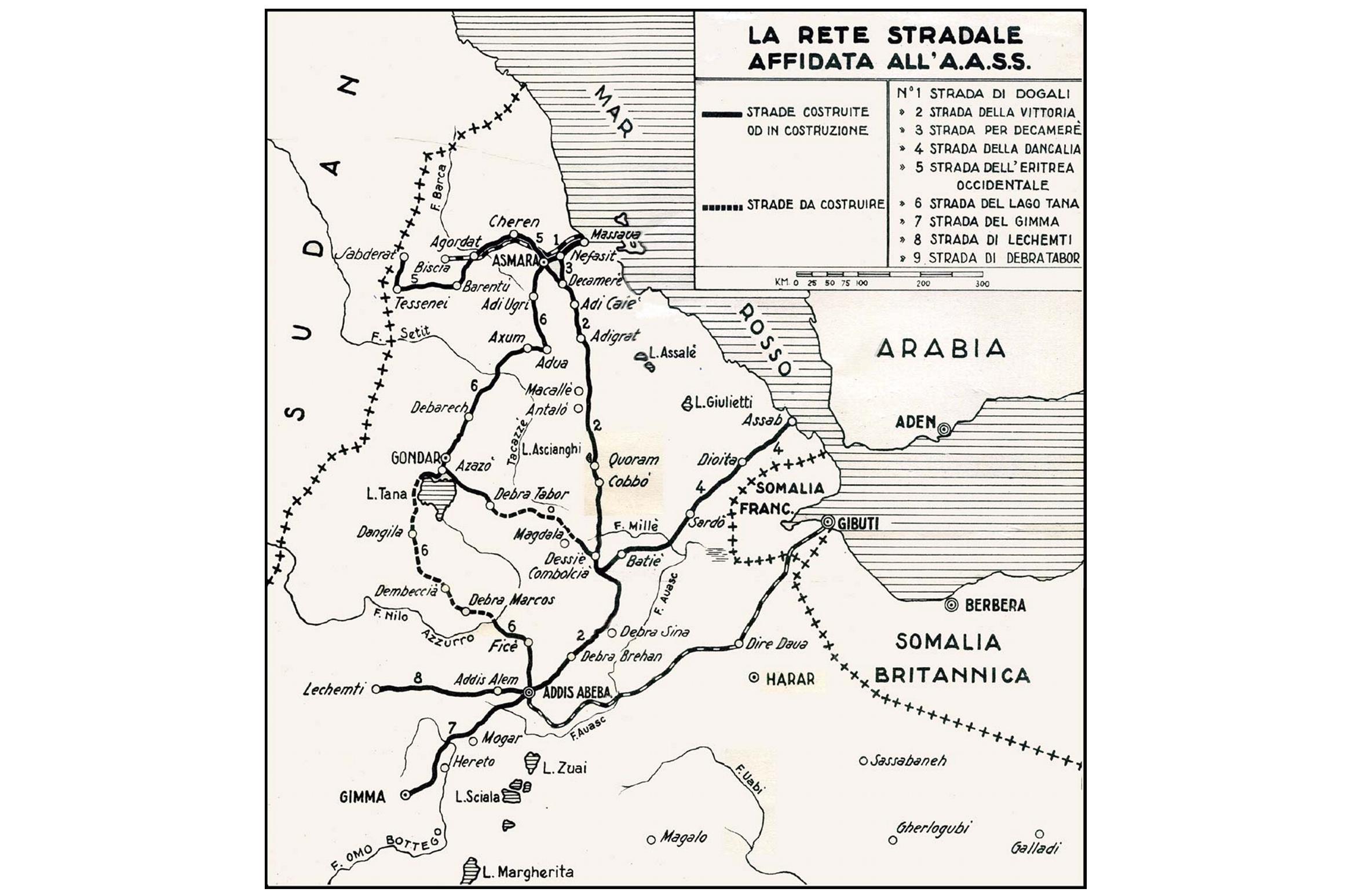 Le strade italiane in Africa Orientale
